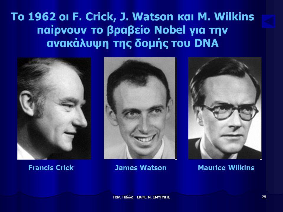 Το 1962 οι F. Crick, J. Watson και M. Wilkins