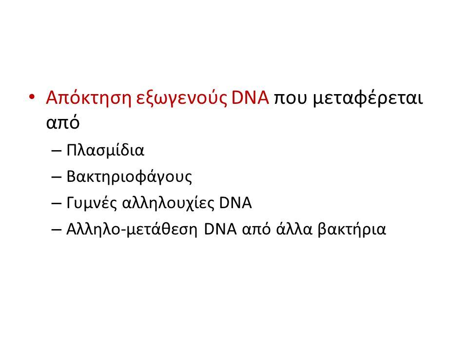 Απόκτηση εξωγενούς DNA που μεταφέρεται από