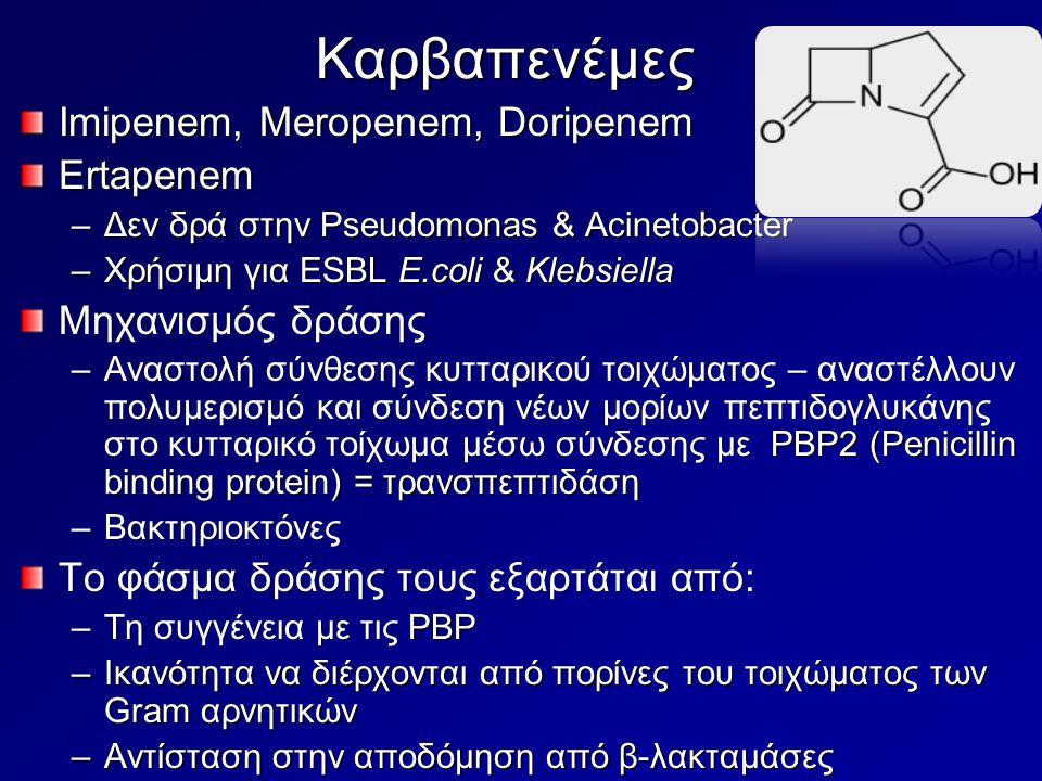 Καρβαπενέμες Imipenem, Meropenem, Doripenem Ertapenem