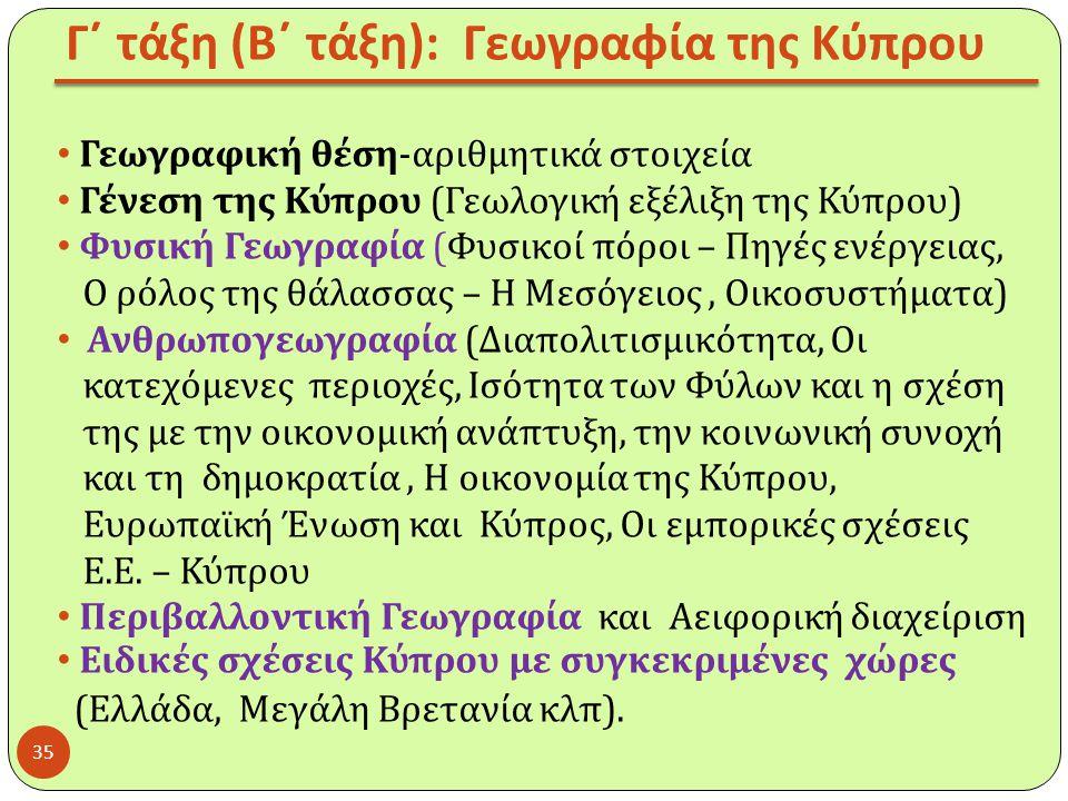 Γ΄ τάξη (Β΄ τάξη): Γεωγραφία της Κύπρου