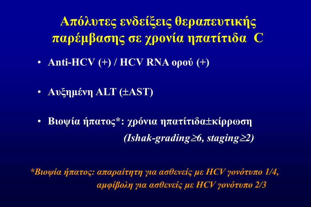 Απόλυτες ενδείξεις θεραπευτικής παρέμβασης σε χρονία ηπατίτιδα C