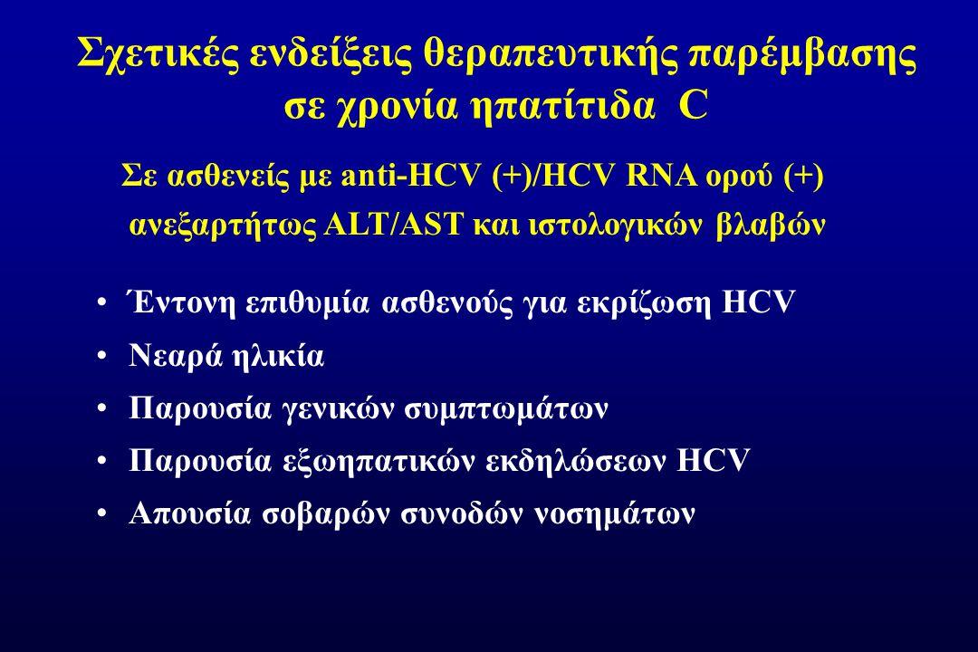 Σχετικές ενδείξεις θεραπευτικής παρέμβασης σε χρονία ηπατίτιδα C