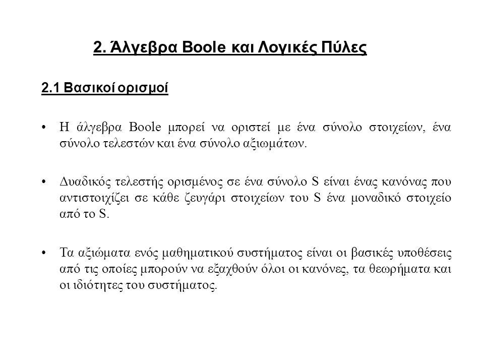 2. Άλγεβρα Boole και Λογικές Πύλες
