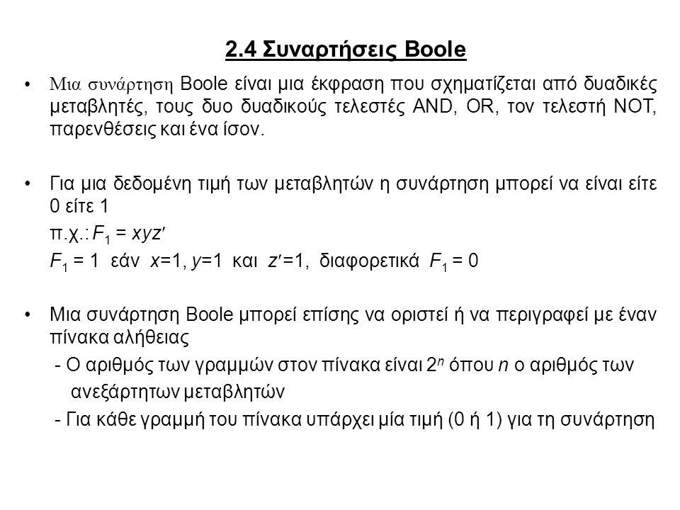 2.4 Συναρτήσεις Boole