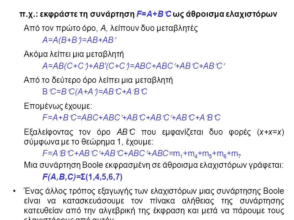 π.χ.: εκφράστε τη συνάρτηση F=A+BC ως άθροισμα ελαχιστόρων