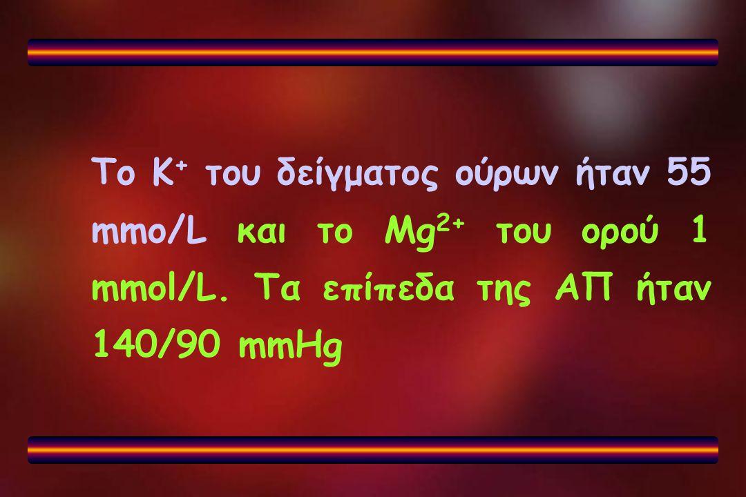 Το Κ+ του δείγματος ούρων ήταν 55 mmo/L και το Mg2+ του ορού 1 mmol/L