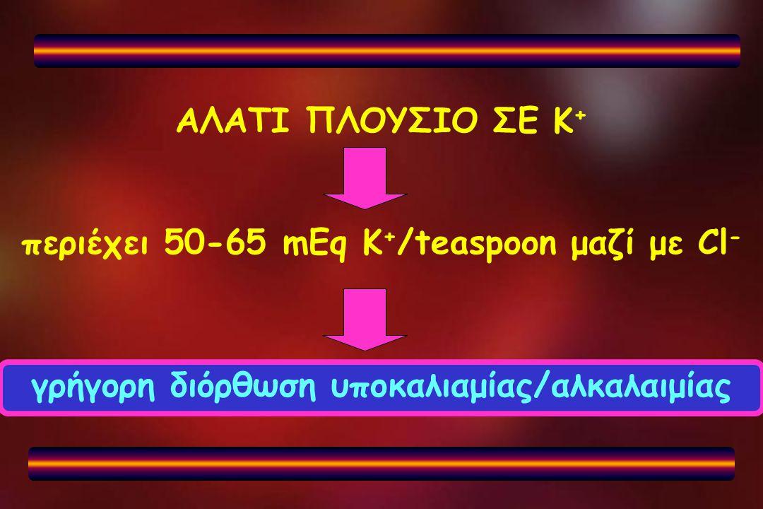 περιέχει 50-65 mEq K+/teaspoon μαζί με Cl-