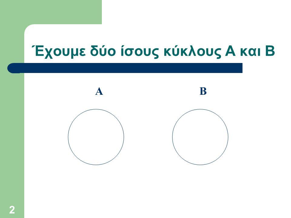 Έχουμε δύο ίσους κύκλους Α και Β