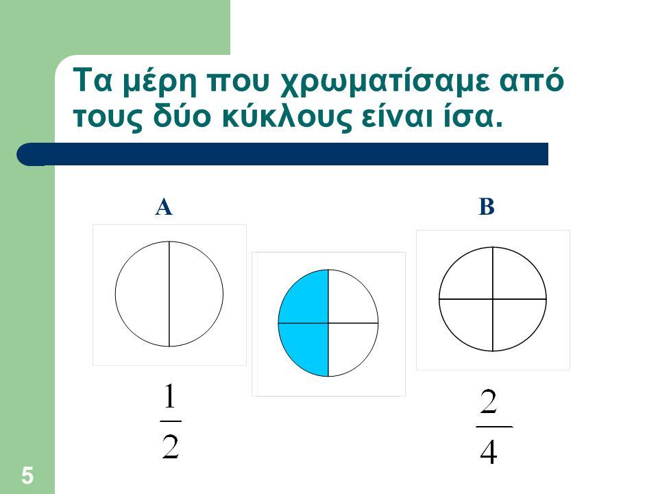 Τα μέρη που χρωματίσαμε από τους δύο κύκλους είναι ίσα.