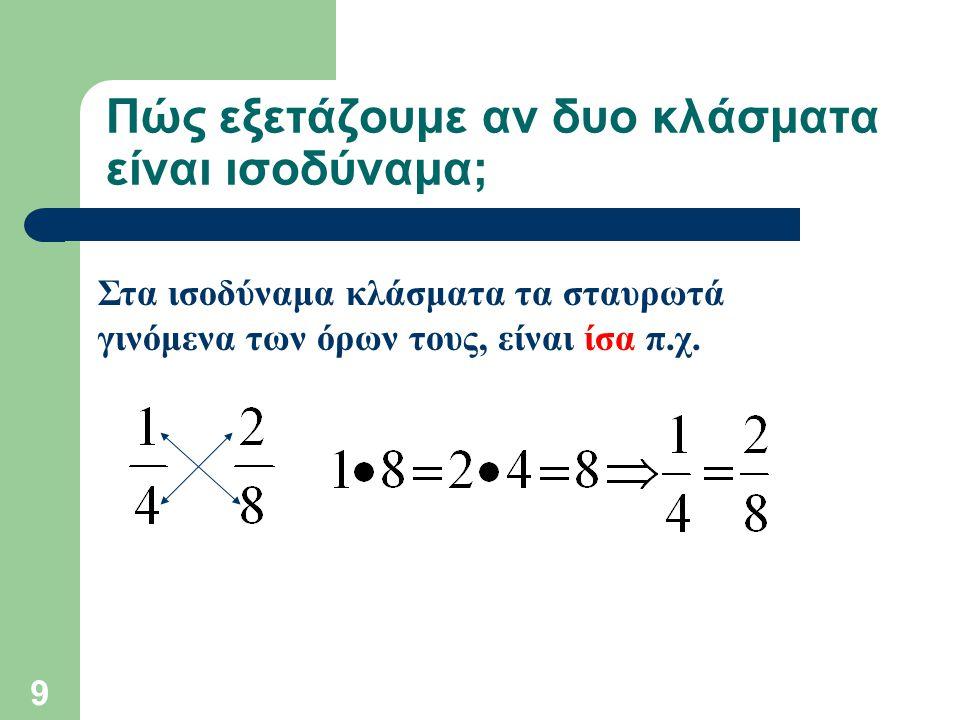 Πώς εξετάζουμε αν δυο κλάσματα είναι ισοδύναμα;