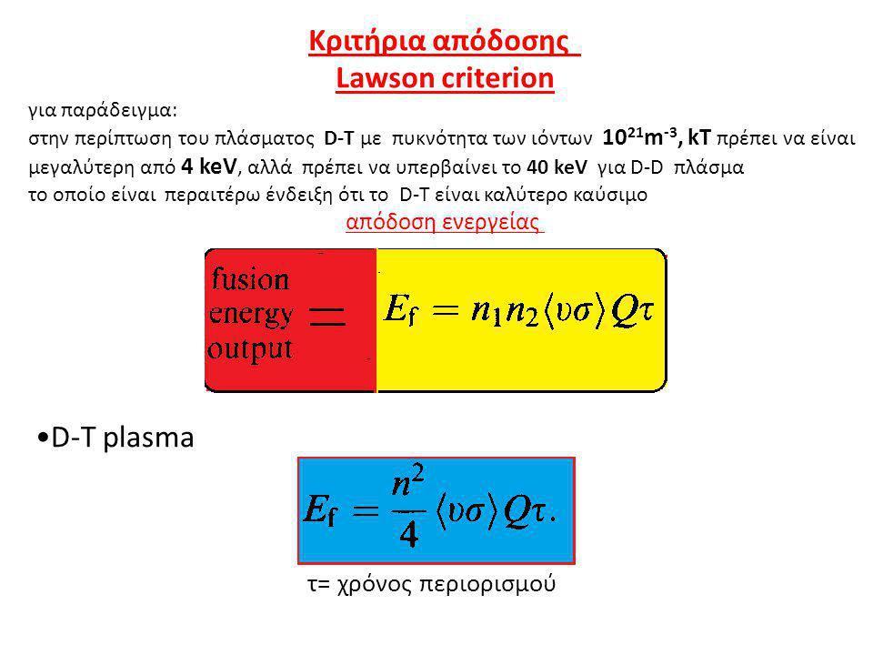 Κριτήρια απόδοσης Lawson criterion D-T plasma τ= χρόνος περιορισμού