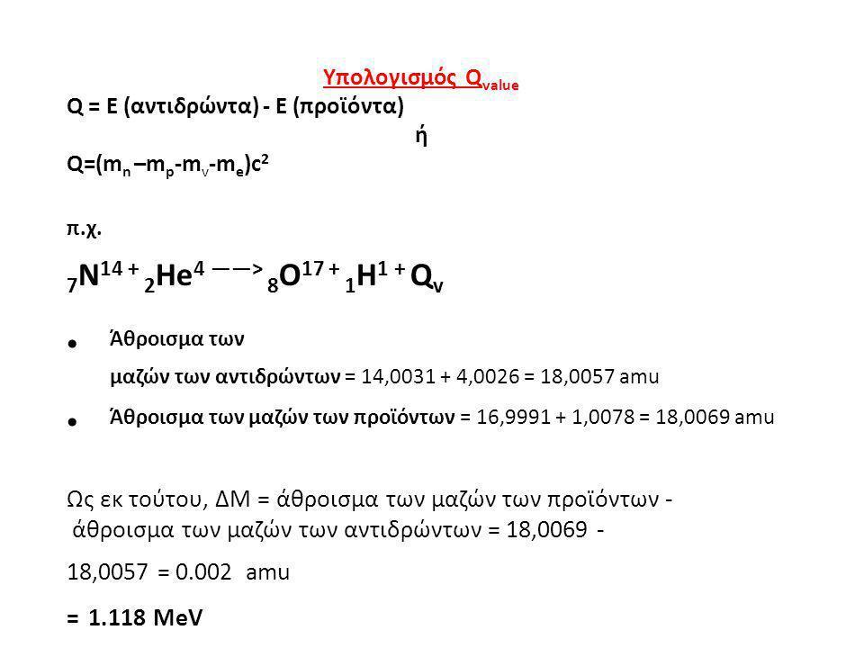 = 1.118 MeV π.χ. 7N14 + 2He4 ——> 8O17 + 1H1 + Qv
