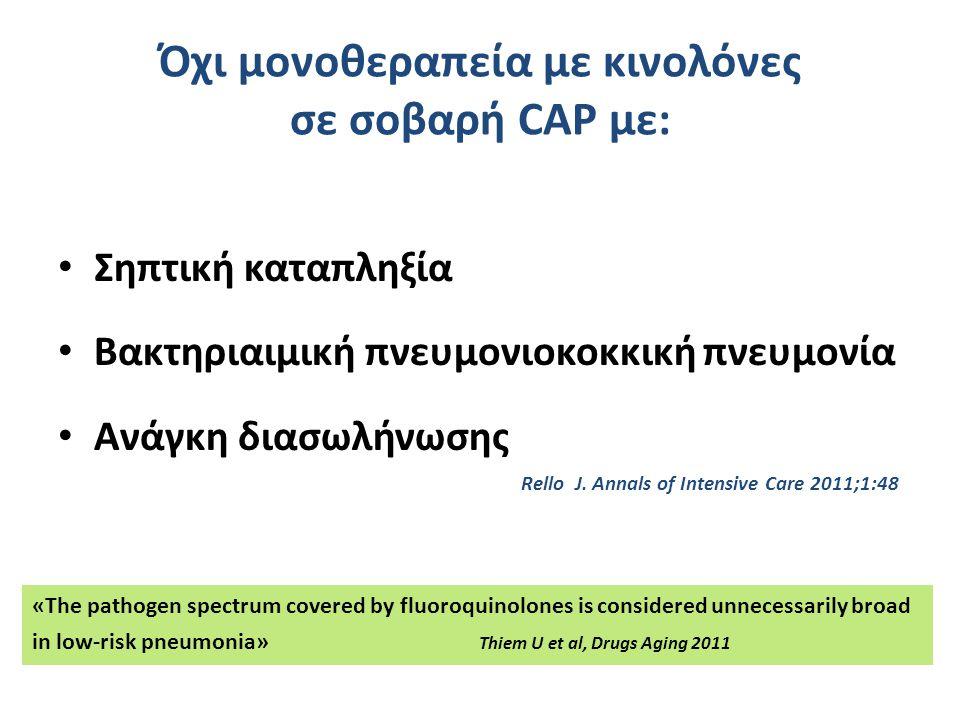 Όχι μονοθεραπεία με κινολόνες σε σοβαρή CAP με: