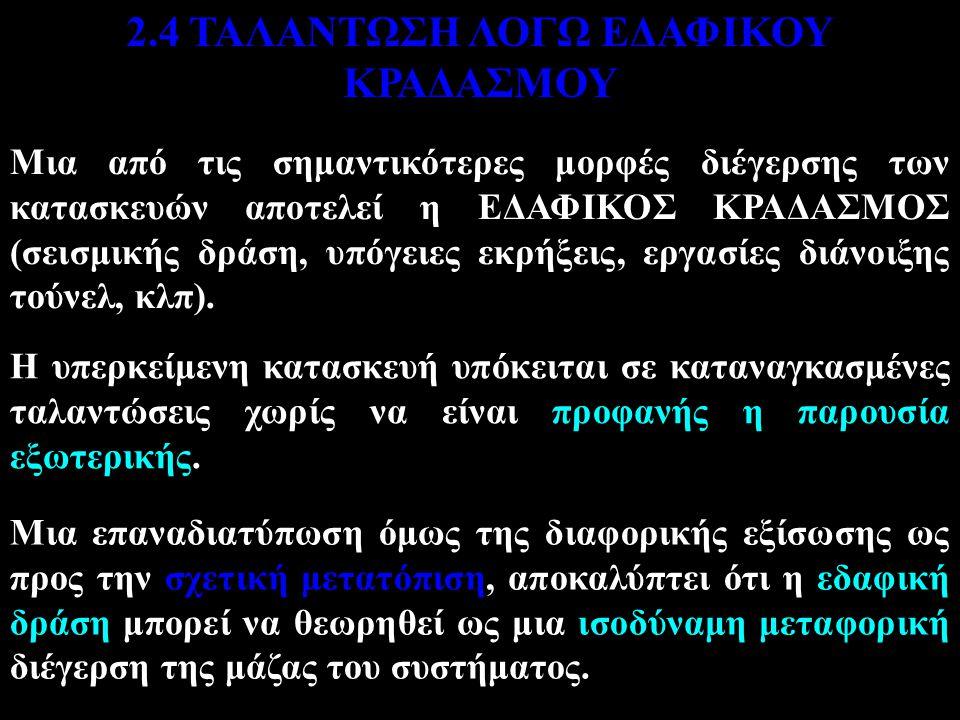 2.4 ΤΑΛΑΝΤΩΣΗ ΛΟΓΩ ΕΔΑΦΙΚΟΥ ΚΡΑΔΑΣΜΟΥ
