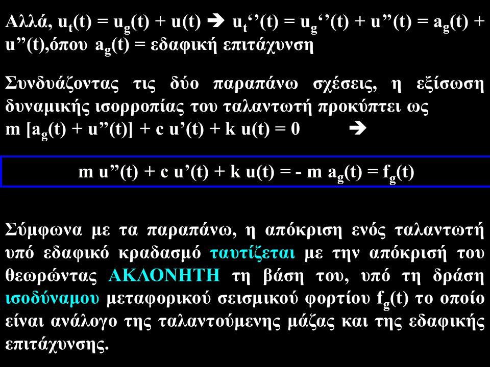m u''(t) + c u'(t) + k u(t) = - m ag(t) = fg(t)