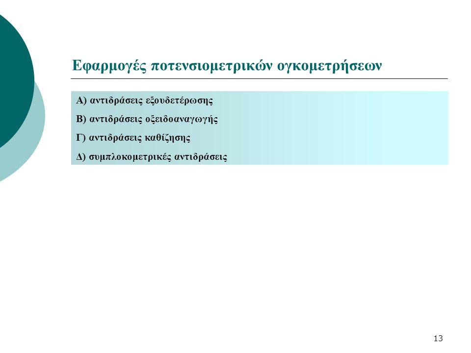 Εφαρμογές ποτενσιομετρικών ογκομετρήσεων