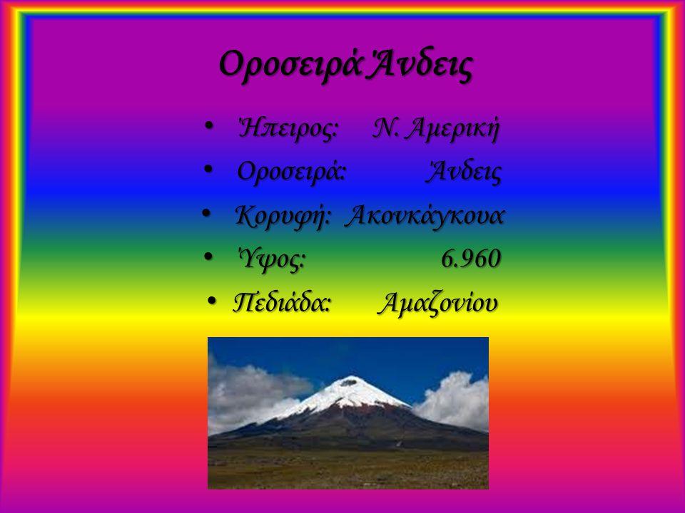 Οροσειρά Άνδεις Ήπειρος: Ν. Αμερική Οροσειρά: Άνδεις