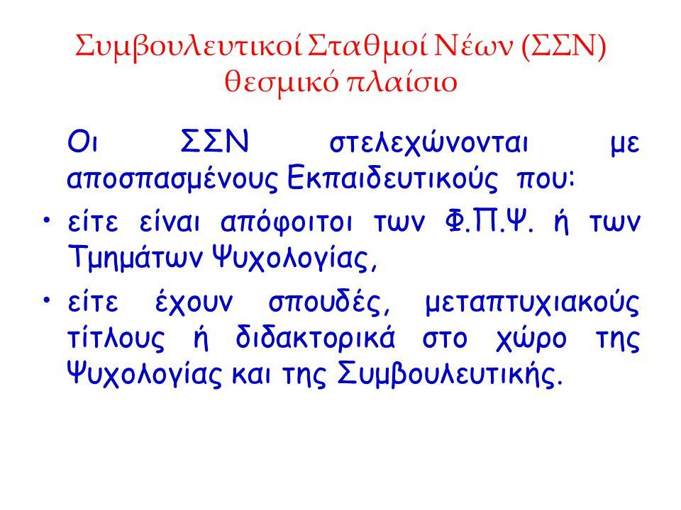 Συμβουλευτικοί Σταθμοί Νέων (ΣΣΝ) θεσμικό πλαίσιο
