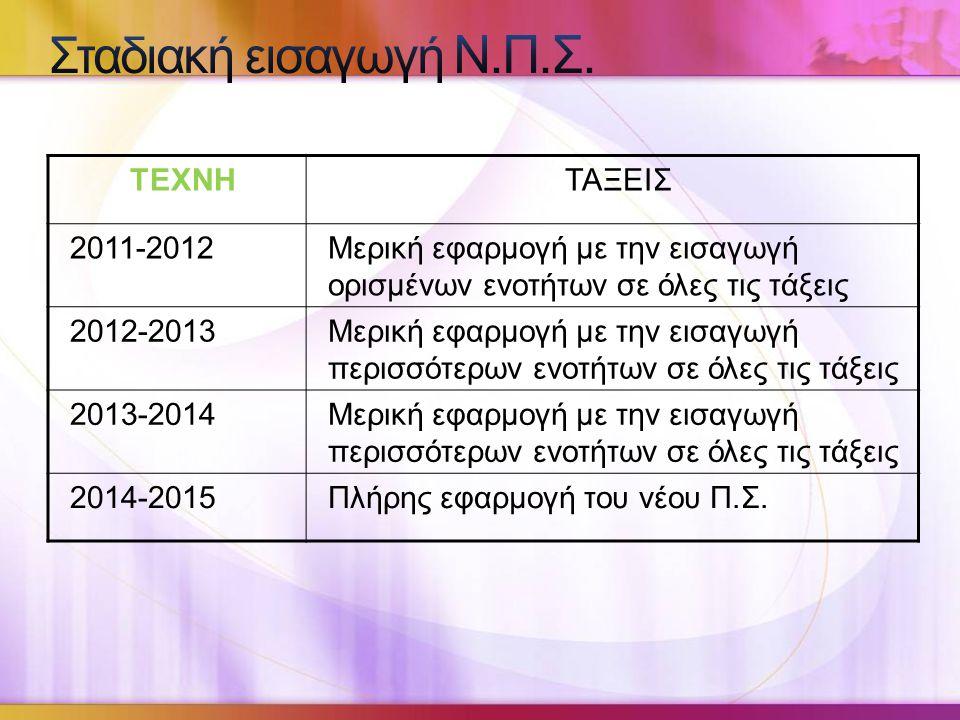 Σταδιακή εισαγωγή Ν.Π.Σ. ΤΕΧΝΗ ΤΑΞΕΙΣ 2011-2012