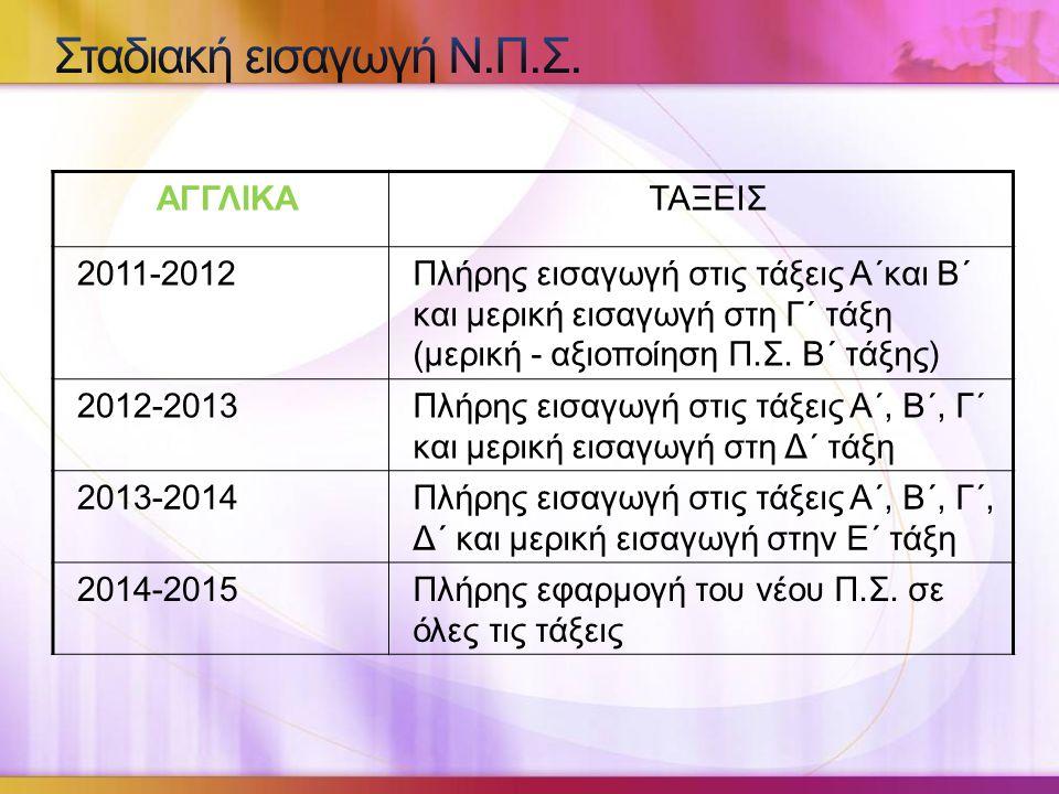 Σταδιακή εισαγωγή Ν.Π.Σ. ΑΓΓΛΙΚΑ ΤΑΞΕΙΣ 2011-2012