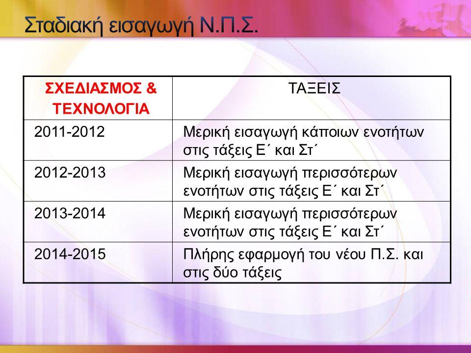 Σταδιακή εισαγωγή Ν.Π.Σ. ΣΧΕΔΙΑΣΜΟΣ & ΤΕΧΝΟΛΟΓΙΑ ΤΑΞΕΙΣ 2011-2012