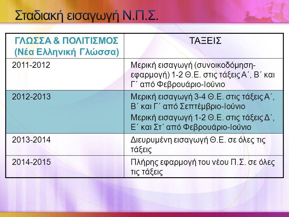 ΓΛΩΣΣΑ & ΠΟΛΙΤΙΣΜΟΣ (Νέα Ελληνική Γλώσσα)