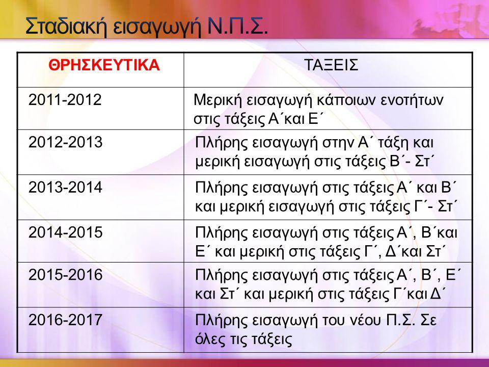 Σταδιακή εισαγωγή Ν.Π.Σ. ΘΡΗΣΚΕΥΤΙΚΑ ΤΑΞΕΙΣ 2011-2012
