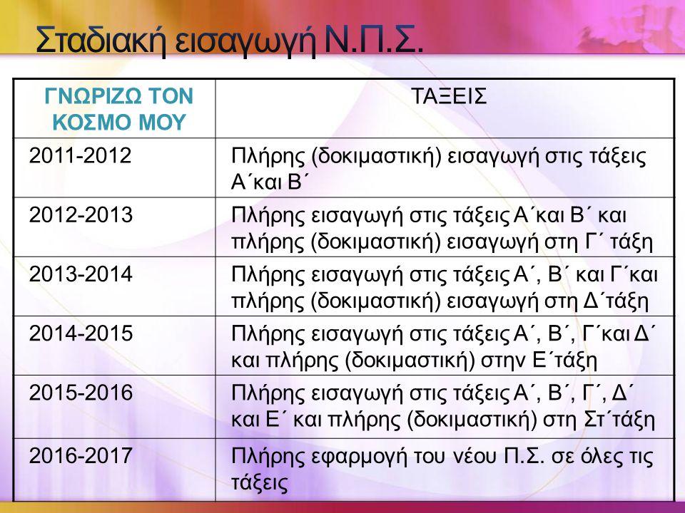 Σταδιακή εισαγωγή Ν.Π.Σ. ΓΝΩΡΙΖΩ ΤΟΝ ΚΟΣΜΟ ΜΟΥ ΤΑΞΕΙΣ 2011-2012