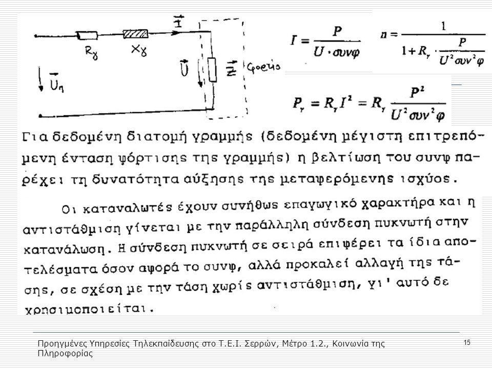 Προηγμένες Υπηρεσίες Τηλεκπαίδευσης στο Τ. Ε. Ι. Σερρών, Μέτρο 1. 2