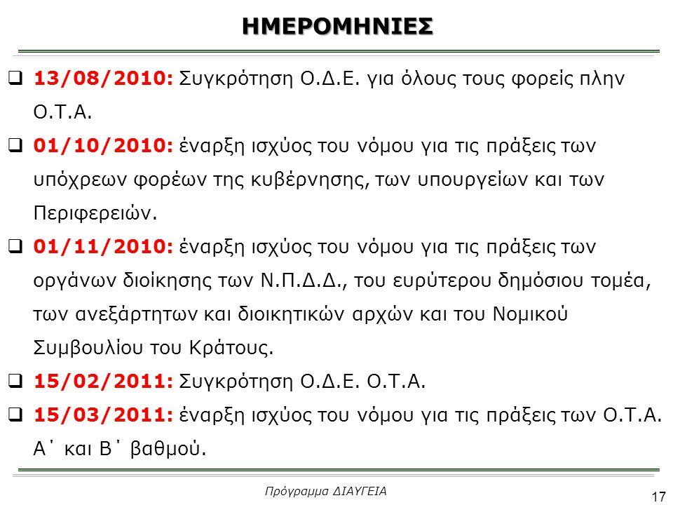 ΗΜΕΡΟΜΗΝΙΕΣ 13/08/2010: Συγκρότηση Ο.Δ.Ε. για όλους τους φορείς πλην Ο.Τ.Α.