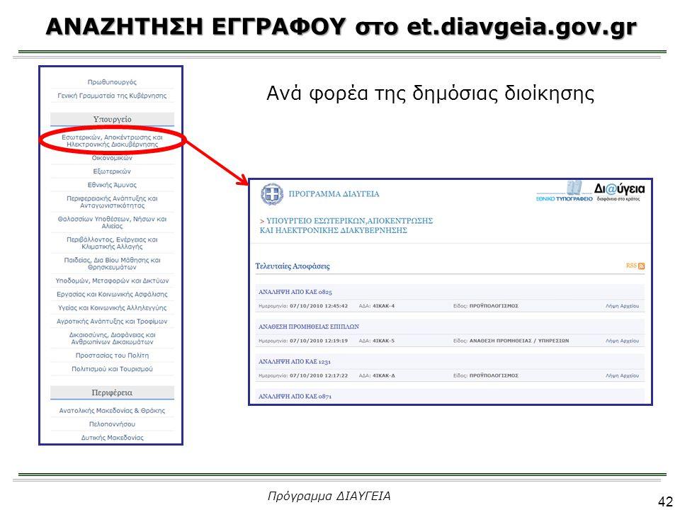 ΑΝΑΖΗΤΗΣΗ ΕΓΓΡΑΦΟΥ στο et.diavgeia.gov.gr