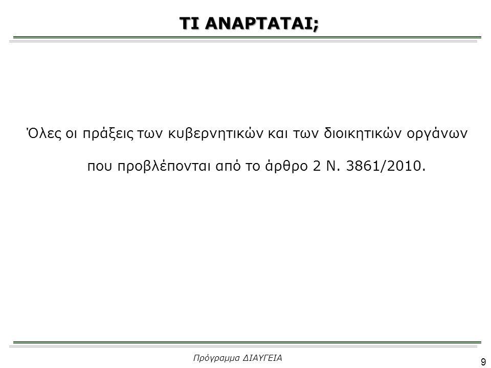 ΤΙ ΑΝΑΡΤΑΤΑΙ; Όλες οι πράξεις των κυβερνητικών και των διοικητικών οργάνων που προβλέπονται από το άρθρο 2 Ν. 3861/2010.
