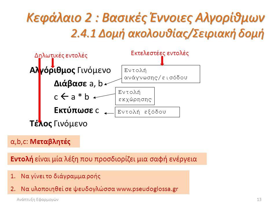 Κεφάλαιο 2 : Βασικές Έννοιες Αλγορίθμων 2. 4
