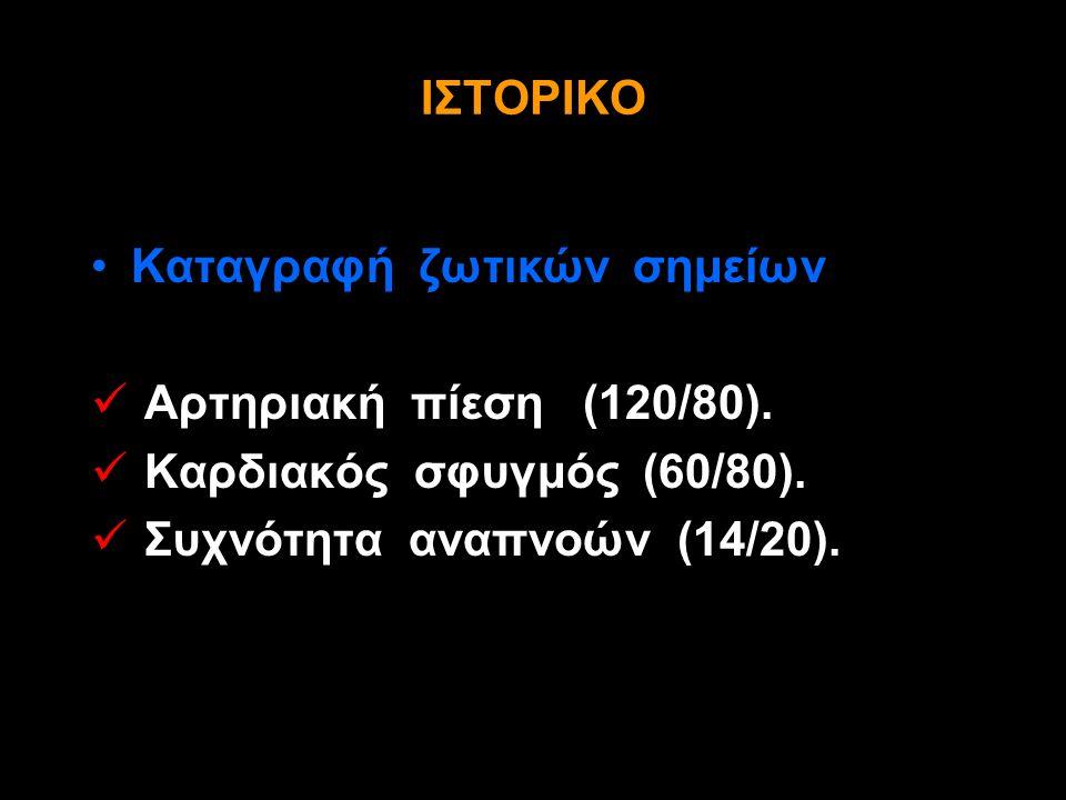 Καταγραφή ζωτικών σημείων Αρτηριακή πίεση (120/80).