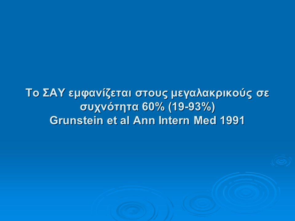 Το ΣΑΥ εμφανίζεται στους μεγαλακρικούς σε συχνότητα 60% (19-93%) Grunstein et al Ann Intern Med 1991