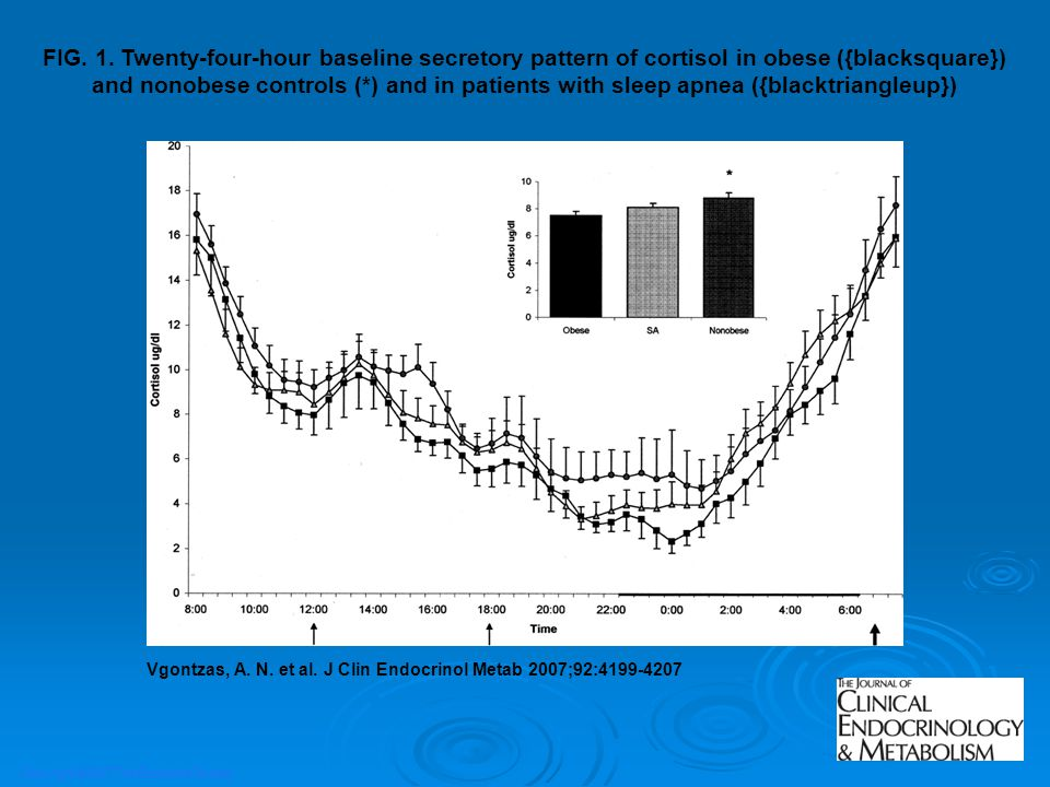 FIG. 1. Twenty-four-hour baseline secretory pattern of cortisol in obese ({blacksquare}) and nonobese controls (*) and in patients with sleep apnea ({blacktriangleup})