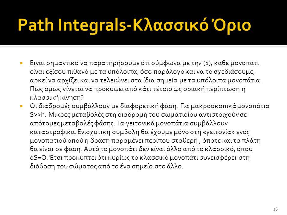 Path Integrals-Κλασσικό Όριο