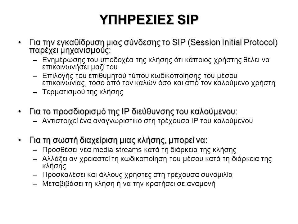 ΥΠΗΡΕΣΙΕΣ SIP Για την εγκαθίδρυση μιας σύνδεσης το SIP (Session Initial Protocol) παρέχει μηχανισμούς: