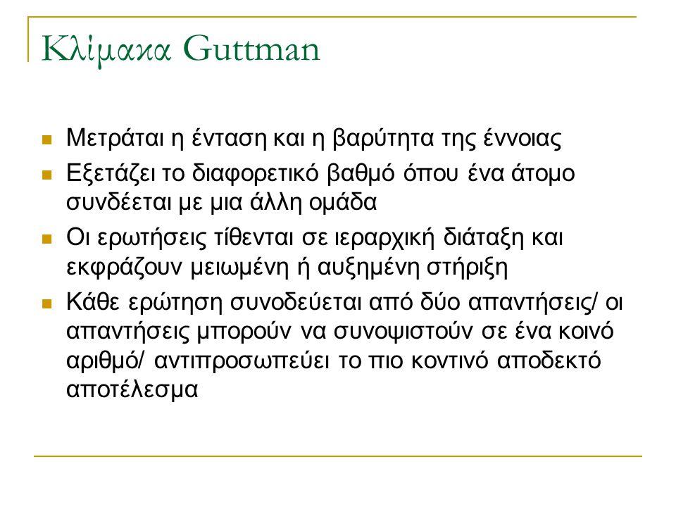 Κλίμακα Guttman Μετράται η ένταση και η βαρύτητα της έννοιας