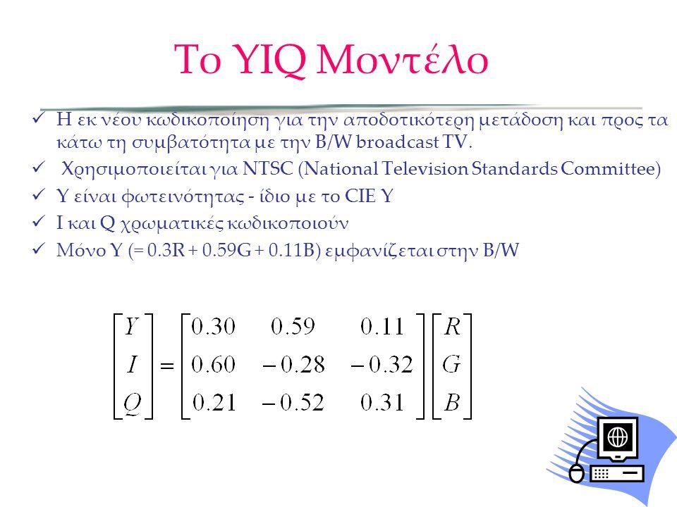 Το YIQ Μοντέλο Η εκ νέου κωδικοποίηση για την αποδοτικότερη μετάδοση και προς τα κάτω τη συμβατότητα με την B/W broadcast TV.