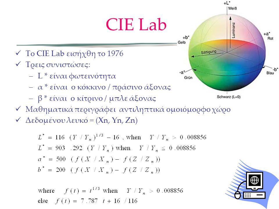 CIE Lab Το CIE Lab εισήχθη το 1976 Τρεις συνιστώσες: