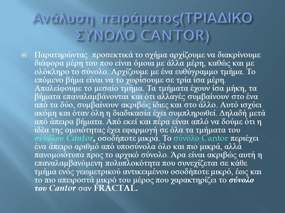 Ανάλυση πειράματος(ΤΡΙΑΔΙΚΟ ΣΥΝΟΛΟ CANTOR)