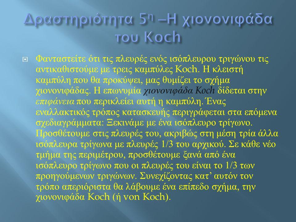 Δραστηριότητα 5η –Η χιονονιφάδα του Koch