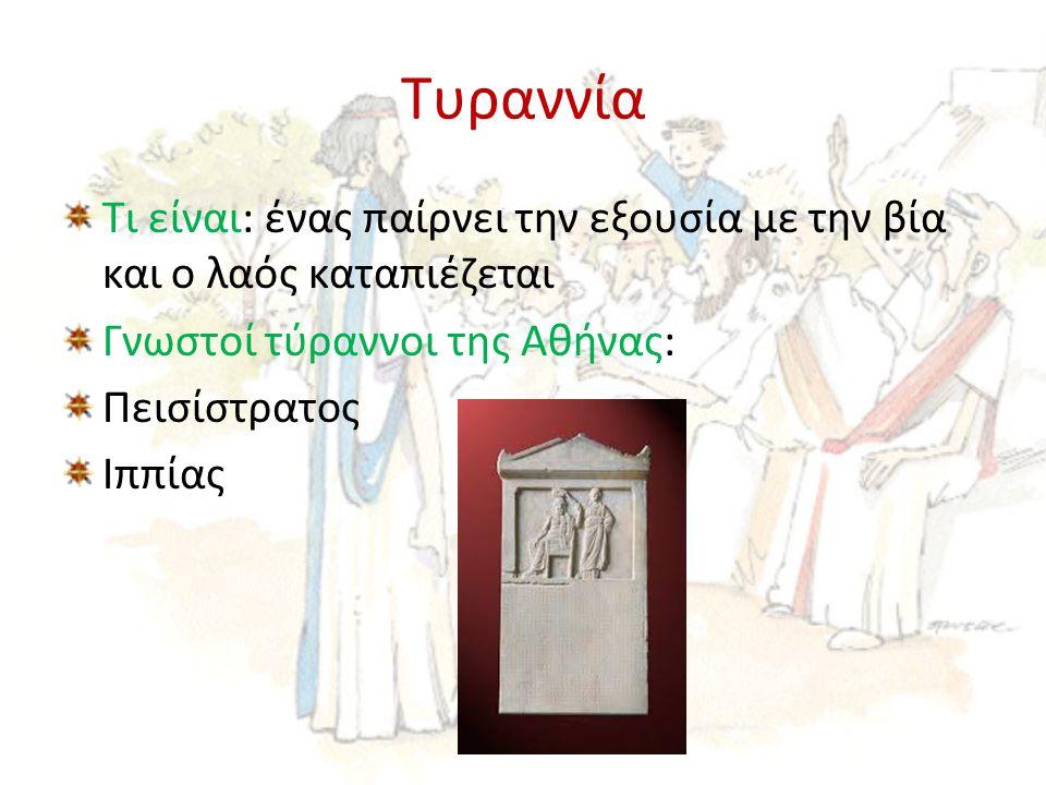 Τυραννία Τι είναι: ένας παίρνει την εξουσία με την βία και ο λαός καταπιέζεται. Γνωστοί τύραννοι της Αθήνας: