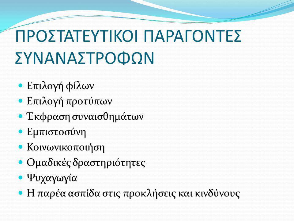 ΠΡΟΣΤΑΤΕΥΤΙΚΟΙ ΠΑΡΑΓΟΝΤΕΣ ΣΥΝΑΝΑΣΤΡΟΦΩΝ