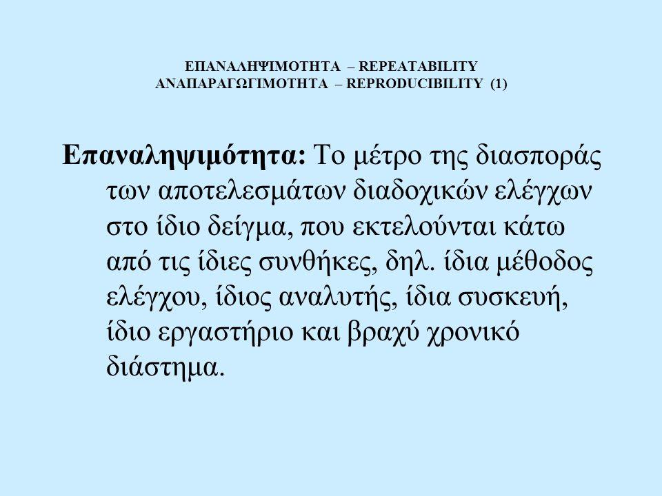 ΕΠΑΝΑΛΗΨΙΜΟΤΗΤΑ – REPEATABILITY ΑΝΑΠΑΡΑΓΩΓΙΜΟΤΗΤΑ – REPRODUCIBILITY (1)