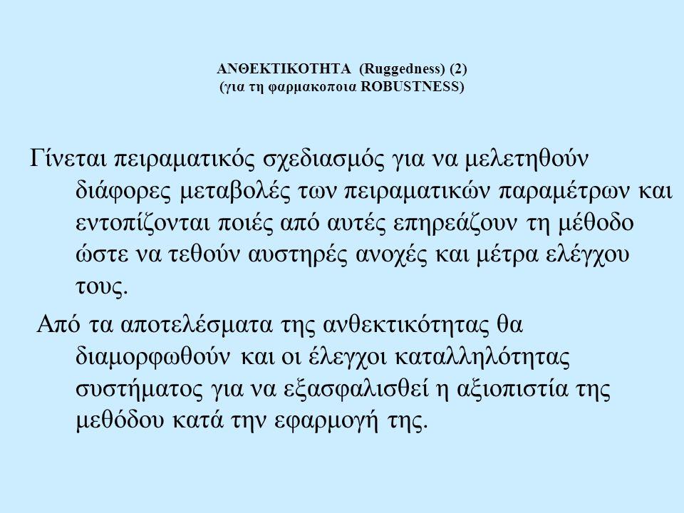ΑΝΘΕΚΤΙΚΟΤΗΤΑ (Ruggedness) (2) (για τη φαρμακοποια ROBUSTNESS)