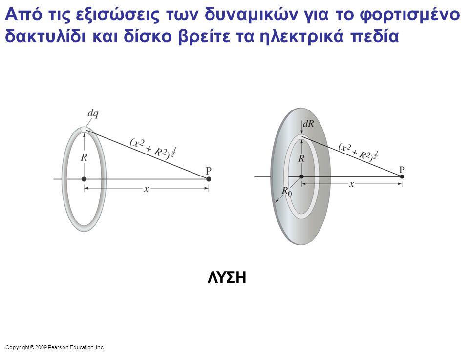 Από τις εξισώσεις των δυναμικών για το φορτισμένο δακτυλίδι και δίσκο βρείτε τα ηλεκτρικά πεδία