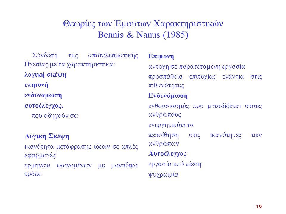 Θεωρίες των Έμφυτων Χαρακτηριστικών Bennis & Nanus (1985)