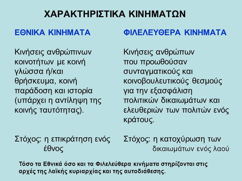 ΧΑΡΑΚΤΗΡΙΣΤΙΚΑ ΚΙΝΗΜΑΤΩΝ